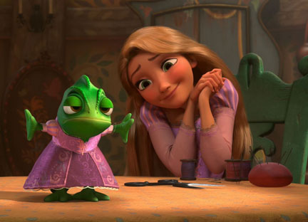 Rapunzel sews Pascal a dress in Tangled