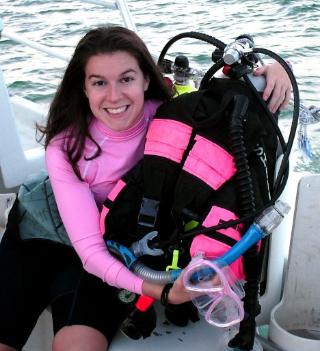 Pink scuba gear