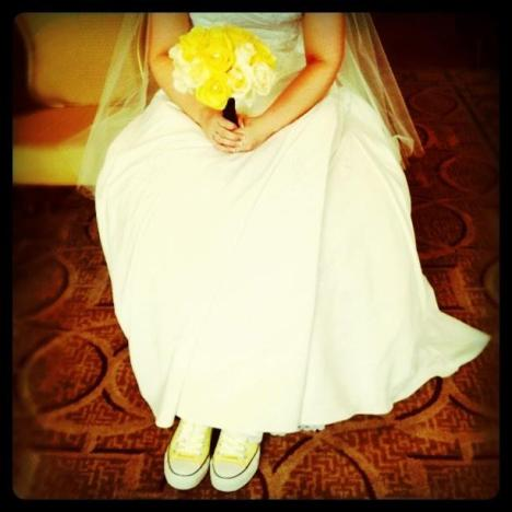 Wedding Day and yellow Converse Chucks