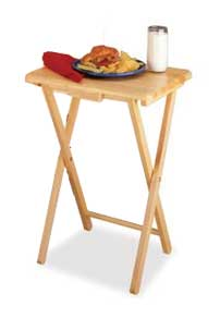 Wooden TV Tray with lunch