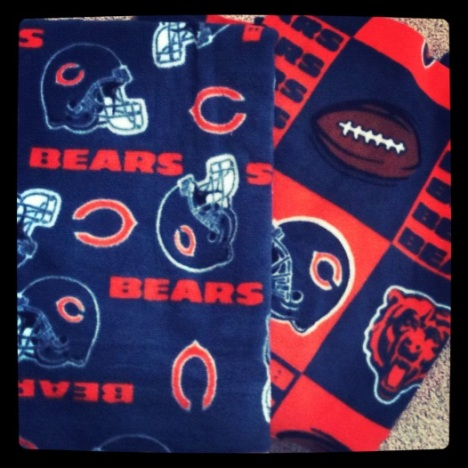 Chicago Bears fleece remnants