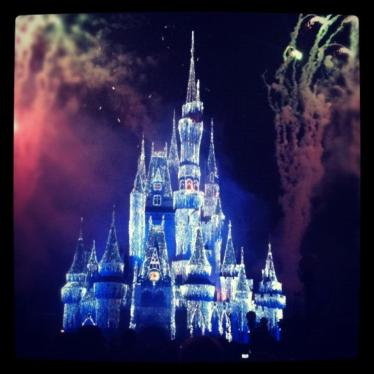Christmas lights on Cinderella Castle