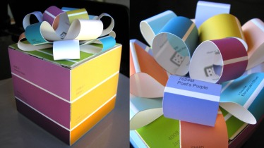 Paint chip gift box and bow