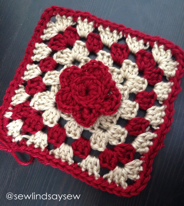 Crochet Granny Square with Flower