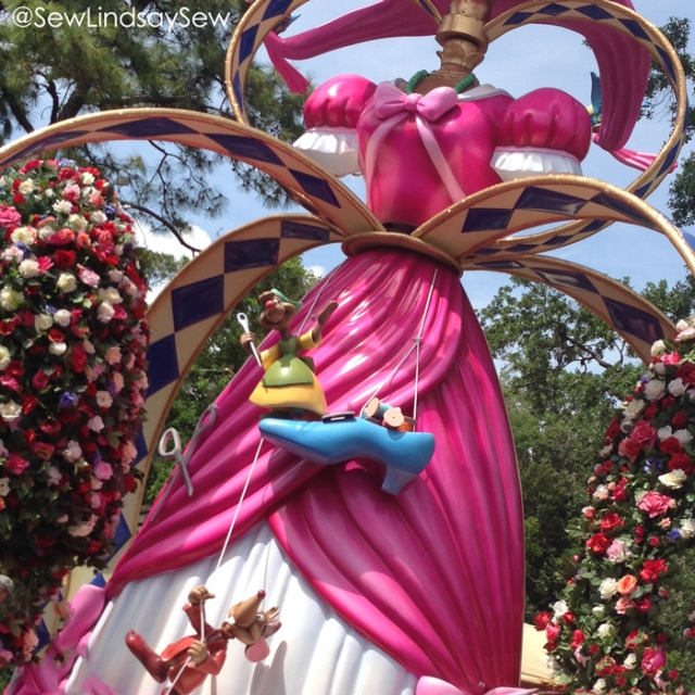 Sewing Cinderella's Dress in the Festival of Fantasy Parade