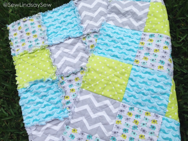 On the Sew Lindsay Sew blog: Mustache and Elephant Rag Quilt