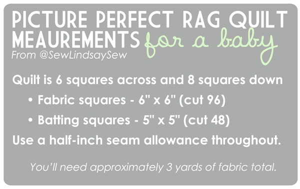 Rag Quilt Size Measurements for Baby