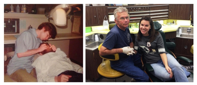 On the left, my dad in dental school; On the right, getting my teeth cleaned on a Saturday afternoon (which is why my dad's in jeans, LOL)