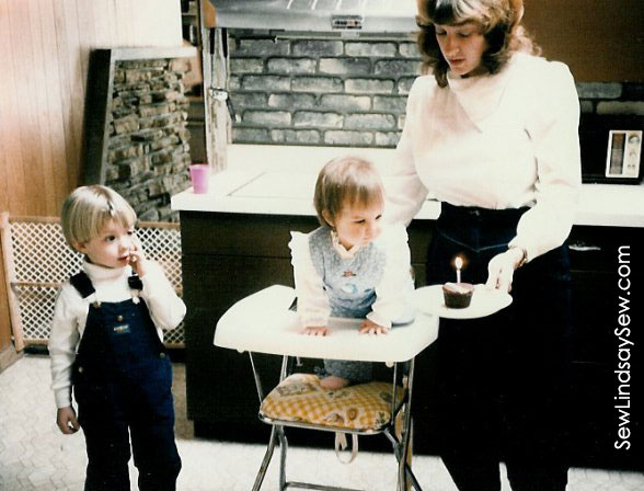 "Celebrating my first birthday with a Hostess cupcake... back in the day before ""smash cakes"" were a thing."